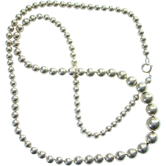Vintage Sterling Silver Graduated Bead Necklace Long Strand On Chain Southwestern Style