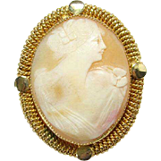 Vintage Carved Shell Cameo Brooch in Gold Tone Frame Head and Torso Carving