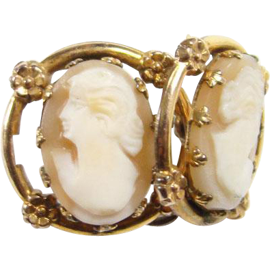Vintage Sterling Silver Carved Shell Cameo Screw Back Earrings Gold Vermeil
