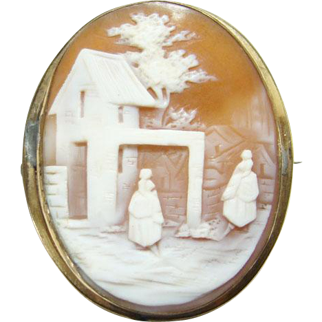 Victorian Carved Shell Cameo Pin Rebecca at the Well Gold Filled Setting Repaired