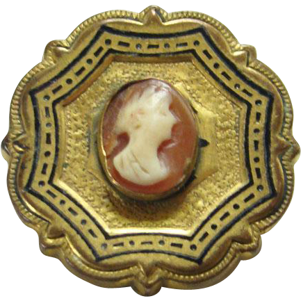 Victorian Carved Carnelian Cameo Pin Black Taille D'Epergne Enamel Setting Mourning Jewelry