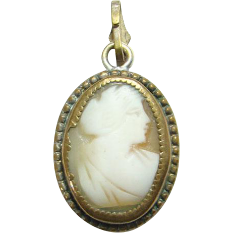 Antique Victorian Carved Shell Cameo Necklace Pendant Gilt Setting Small