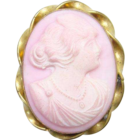 Antique Edwardian Carved Conch Shell Pink Cameo Brooch Pin Gold Filled High Relief