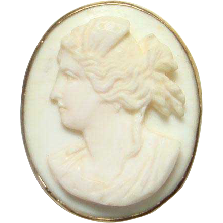 Antique Pink Carved Conch Shell Cameo Facing Left GF Bezel No Setting