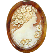 Victorian Carved Shell Cameo in Tortoise Shell Frame No Clasp Some Damage