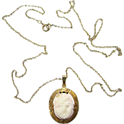 Antique Hand Carved Pink Conch Shell Cameo Pendant Necklace Gold Wash Decorated Frame