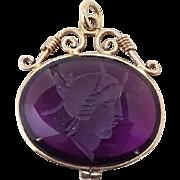 Antique Victorian Amethyst Watch Fob Necklace Pendant Intaglio Cameo