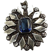 Victorian Antique Sterling Silver Pendant Brooch with Blue Glass Stone