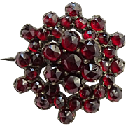 Victorian Rose Cut Bohemian Garnet Small Brooch Pin Gold Filled Antique