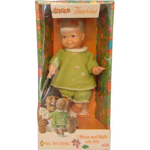 Vintage HTF Ideal Jingle Thumbelina Doll Move and Walk Factory Sealed in Box 1969