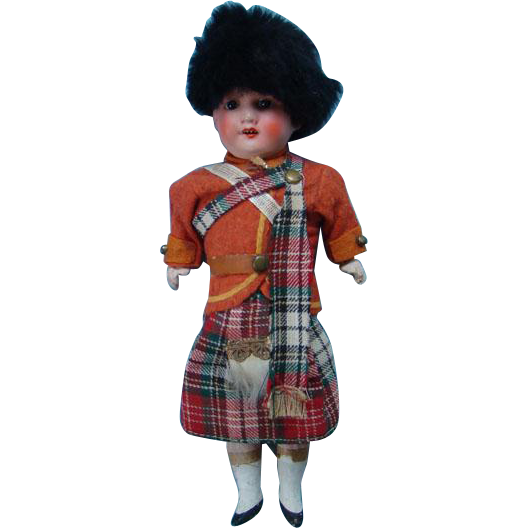 Armand Marseille 390 Royal Scots Guard Bisque Head Doll 9.5 inch Scotland