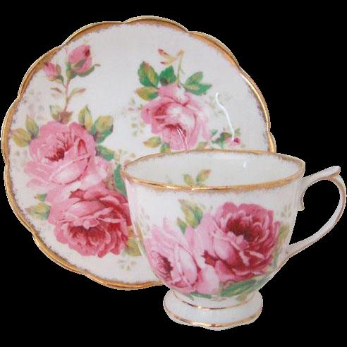 Royal Albert American Beauty Pink Roses Bone China Tea Cup Saucer England