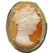 Vintage Intricately Carved Shell Cameo Pendant Pin Brooch Textured Gold Tone Frame