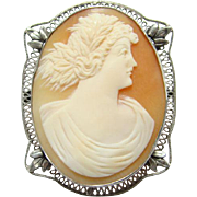 Antique Sterling Silver Carved Shell Cameo Pin Brooch IntricateFiligree Setting