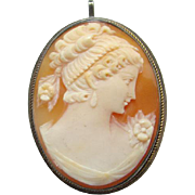 Antique 800 German Silver Carved Shell Cameo Pin Brooch Lady Neo Classic Hairstyle