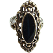 Vintage Black Onyx Sterling Silver Ring Marked 925 Size 7.75