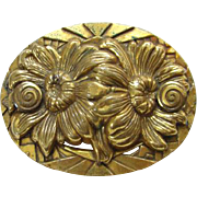 Old Edwardian Oval Brass Brooch Pin Floral Daisy Design Heavy