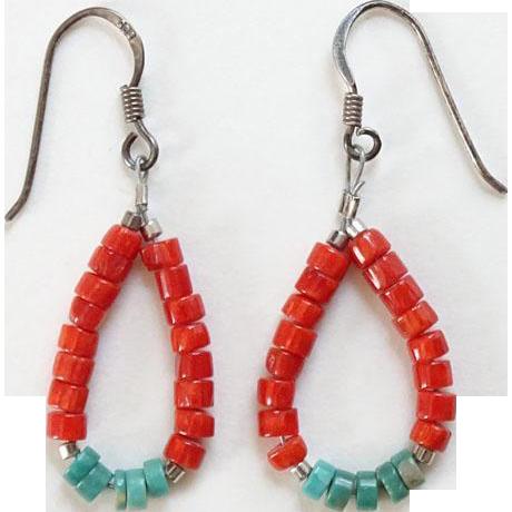 Vintage Southwestern Jacla Style Pierced Earrings Spiny Oyster Turquoise Sterling Silver