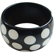 Vintage Black White MOD Polka Dot Lucite Bangle Bracelet