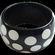 Vintage Black White MOD Polka Dot Lucite Bangle Bracelet