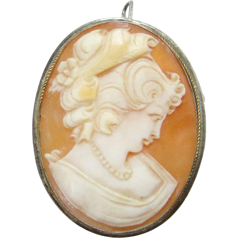 Victorian Carved Shell Cameo Pendant Brooch 800 Silver Elaborate Hairstyle