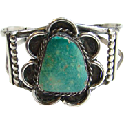 Vintage Navajo Turquoise Cuff Bracelet Sterling Silver Beautiful Large Stone