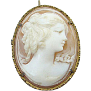 Old Edwardian 800 Silver Carved Shell Cameo Portrait Pendant Brooch High Relief