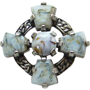 Vintage Miracle Scottish Scotland Celtic Cross Faux Agate Brooch Pin Signed
