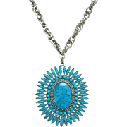 Vintage Faux Turquoise Petit Point Cluster Pendant Necklace Madonna and Child