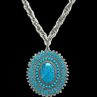 Vintage Faux Turquoise Petit Point Cluster Pendant Necklace Madonna and Child