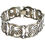 Old Taxco Mexico Sterling Silver Link Panel Bracelet Signed Abstract Design