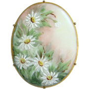 Old Hand Painted Porcelain Brooch With Daises Daisy Flowers