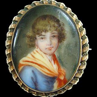 Old Hand Painted Porcelain Portrait Brooch of Girl Gold Filled Frame Victorian