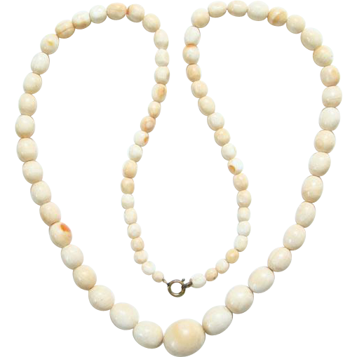 Vintage Conch Coral Graduated Bead Necklace 24 Inch