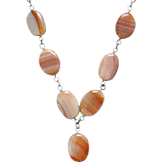 Vintage Graduated Scottish Agate Link Necklace Wire Wrapped 29 Inch