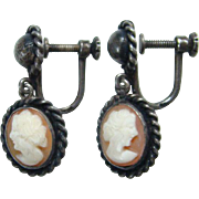 Old 800 German Silver Carved Shell Cameo Screw Back Earrings