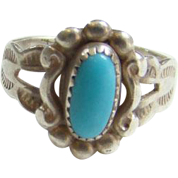 Old Bell Trading Post Child Baby Turquoise Ring Sterling Silver Size 1.25 Signed