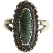 Vintage Bell Trading Post Navajo Green Turquoise Ring Size 8.25 Sterling Silver Signed
