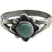 Vintage Bell Trading Post Navajo Turquoise Sterling Silver Ring Size 6.5 Stacking Signed