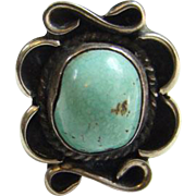 Old Navajo Style Turquoise Ring Sterling Silver Size 6 Native American