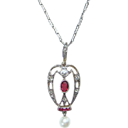 Vintage Art Deco Sterling Silver Lavalier Pendant Necklace Chain With Red Stones