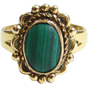 C1972 Sunbell Corp Native American 12K GF Malachite Ring Size 5.5 Bell Trading Post