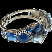 Juliana Sapphire Blue Rhinestone Clamper Bracelet DeLizza Elster Book Piece
