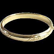 Vintage 12K Yellow GF Gold Filled Hinged Bangle Bracelet Etched Design Signed Marathon