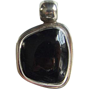 Sterling Silver ATI Mexico Black Onyx Necklace Pendant Mexican Jewelry
