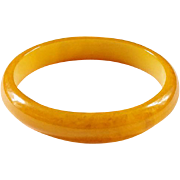 Vintage Marbelized Butterscotch Yellow Bakelite Bangle Bracelet 1930-40