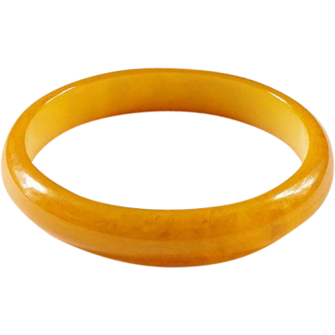 Vintage Marbelized Butterscotch Yellow Bakelite Bangle Bracelet 1930-40