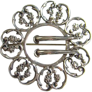 Edwardian Filigree Silver Sash Buckle Brooch Pin Marked Sterling