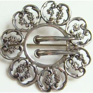 Edwardian Filigree Silver Sash Buckle Brooch Pin Marked Sterling