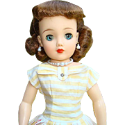 1957 Ideal Miss Revlon Doll Kissing Pink Yellow Stripe Dress VT-18 Auburn Hair